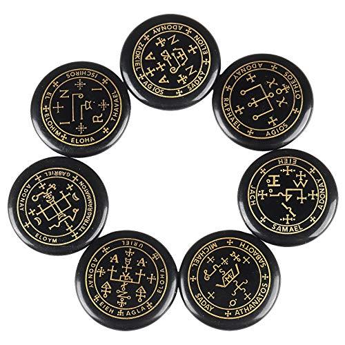 Rockcloud Healing Crystal 7pcs Engraved Magic Circle Spiritual Powers Round Palm Stones Reiki Balancing,Black Agate