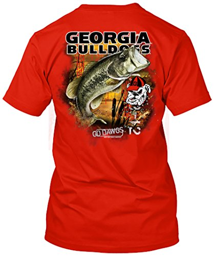 NCAA - Bass Fishing T Shirt - Multiple Universities Available - up to 2X and 3X - Officially Licensed Apparel (Georgia Bulldogs, Large)