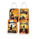 Bolsas regalo de Halloween, Bolsas Papel kraft de Halloween, 12 Bolsas Para Chuches de Halloween, es muy adecuada para la fiesta de Halloween, los dulces de Halloween o el empaque de galletas.
