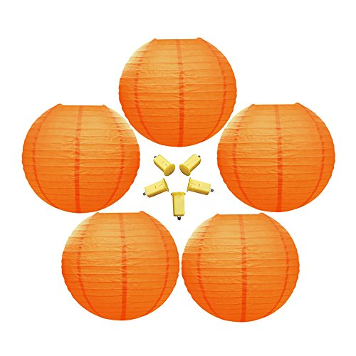 Neo LOONS 5 Pack 10 Inch Orange Round Chinese/Japanese Paper Lanterns Metal Framed Hanging Lanterns with Warm White LED Lights--- For Home Decor, Parties, Weddings and DIY