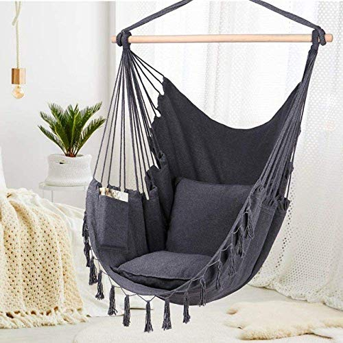 LHAHGLY Hammock,Hammock Chair Hanging Rope Swing Max 330 Lbs-2 Cushions Included Large Rame Hanging Chair with Pocket,White with Carrying/White Gray/China hammocks, stands & accessories