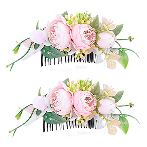 Campsis Set of 2 Bridal Flower Hair Combs Pink Flower Side Combs Bride Bridesmaid Hair Piece Artificial Hair Accessorries Engagement Prom Party Beach Photography for Women and Girls
