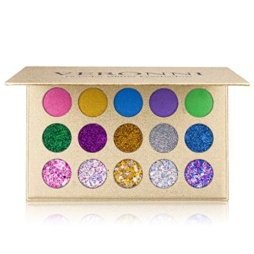 15 Colors Glitter Eyeshadow Palette - Professional Chunky & Fine Pressed Glitter Eye Shadow Powder, Highly Pigmented Shimmer Makeup Pallet Cosmetics for Face Body