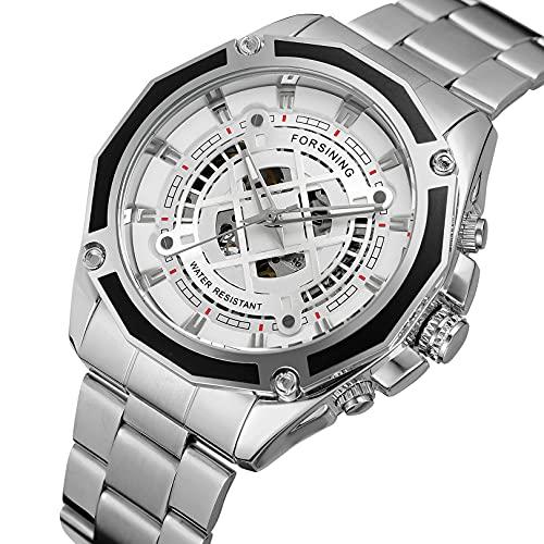 Excellent Relojes mecánicos automáticos de los Hombres Reloj de Reloj de Pulsera analógico con Correa de Acero Inoxidable Deportes Esqueleto,A04