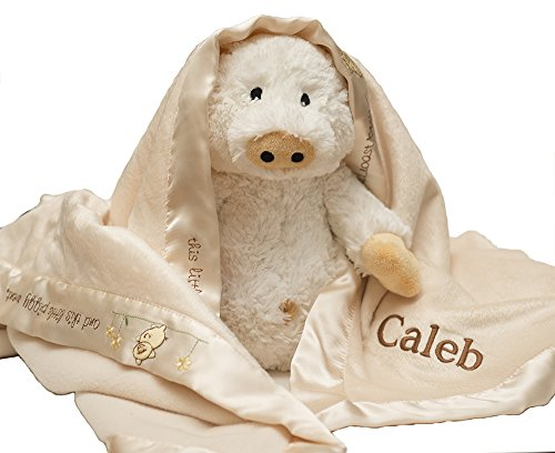 Personalized Custom Monogrammed with Name on Baby Aspen Pig-N-A- Blanket with Plush Gift Set