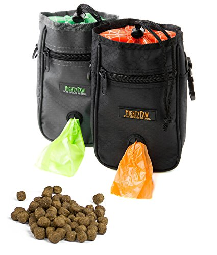 Mighty Paw Dog Treat Bag, Premium Quality Drawstring Closure Pouch, Includes Carabiner Hook, 1 Roll Pick-up Bags Reflective Belt (Grey/Green)