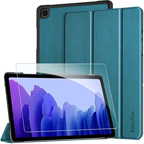 EasyAcc Custodia Cover+Pellicola Protettiva Compatibile con Samsung Galaxy Tab A7 10.4 2020, Ultra Sottile Smart Cover in Pelle Vetro Temperato Protezioni Pellicola per SM-T500 T505 Tablet,Blu Pavone
