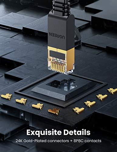 Chromebook LAN Kabel | RJ45 Ethernet Kabel | UGREEN Cat 7 Ethernet Kabel 10Gbit/s 600Mhz LAN Kabel Flaches Netzwerkkabel Cat7 FTP Kabel mit vergoldete RJ45 kompatibel mit Cat.6 Cat.5e Cat.5 für Router, Modem, Switch, PS4/3, Patchpannel usw (1m) - 5