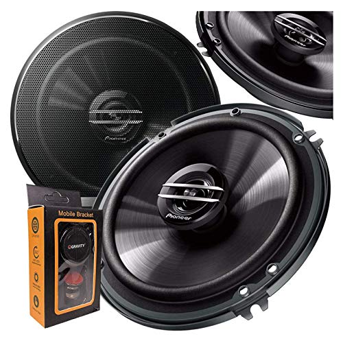 Pair of Pioneer 6-1/2' 6.5' 2-Way 300 Watt Coaxial Car Audio Speakers | TS-G1620F (2 Speakers) + Gravity Magnet Phone Holder