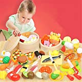 YLiansong-home Juego de Juguetes para niños en Juego de Roles Cocina Pretenda de Juguete, Juego de Roles Corte Frutas de Corte Juguete y Utensilios de Cocina Set Juguetes de Alimentos preescolares