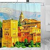 España Alhambra Palacio Castillo Charles V Granada Andalucía Cortina de ducha Viajes Decoración de baño Set con ganchos Poliéster 72x72 pulgadas (YL-05224)