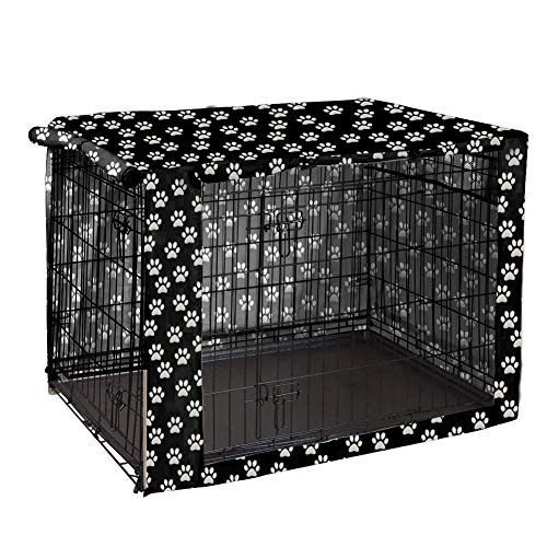 """Dog Crate Cover Durable Polyester Pet Kennel Cover Universal Fit for Wire Dog Crate - Fits Most 48"""" inch Dog Crates - Cover only-Black-48"""