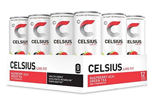 CELSIUS Raspberry Acai Green Tea Non-Carbonated Fitness Drink, ZERO Sugar, 12oz. Slim Can, 12 Pack