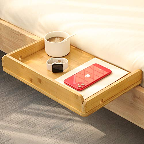 Amada Bedside Shelf for Bed with Cable Management & Cup Holder, Versatile Use as Snack Bedside Table, Tablet Holder, Easy Assemble Organizer for USB Cable, Earphone and Tissue