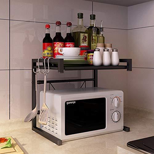 Vinteky Estante de Horno para Microondas, Estantería de Cocina, Ideal para Colgar Multifuncional Organizador Estantería Cocina, Negro