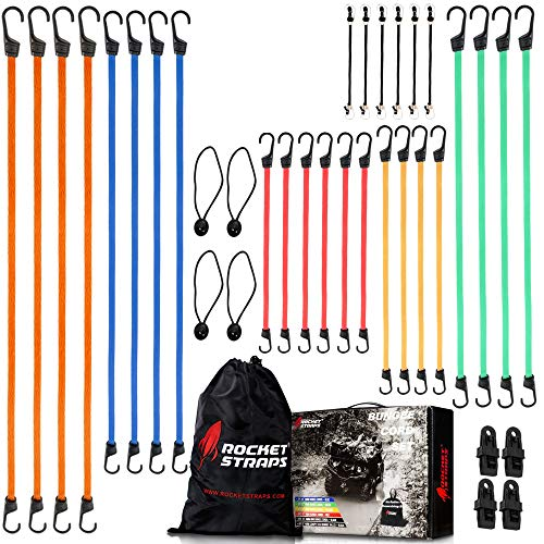 ROCKET STRAPS | 36 Piece Bungee Cords with Hooks | Bungee Cord Assortment Includes 48