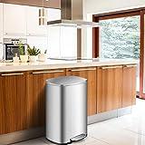 COSTWAY Mülleimer 50L, Treteimer aus Edelstahl, Abfalleimer mit Deckel, Tragegriff und Inneneimer, für Küche Wohnzimmer Büro, silberfarben - 4