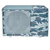 Cubierta de aire acondicionado exterior, cubierta del climatizador para exteriores, antipolvo, antinieve, impermeable, protector de aire acondicionado (camuflaje azul marino, XL)