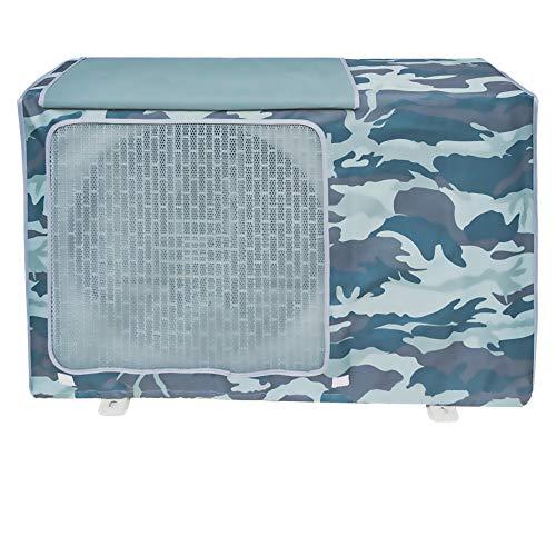 Copertura Condizionatore Esterno,Coperchio del climatizzatore per esterni Anti-Polvere Anti-Neve Impermeabile Protector Climatizzatore (Camouflage blu mare,XL)