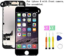 Screen Replacement Compatible with iPhone 8(4.7 inch) Full Assembly - LCD 3D Touch Display Digitizer with Ear Speaker, Sensors and Front Camera, Fit Compatible with iPhone 8-4.7 inch (Black)