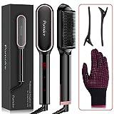 Pamoire Hair Straightener Brush – Hair Iron Straightening with Built-in Comb,...
