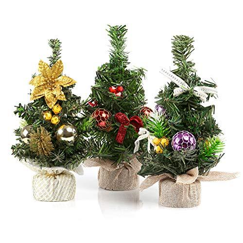 Kesote 3X Weihnachtsbaum Künstlich Klein Tannenbaum Geschmückt Christbaum Mini Weihnachtsdeko Advent Weihnachten (22 x 11 cm)