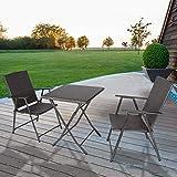 bigzzia Rattan Garden Furniture Set, 3PCS Folding Chair Table