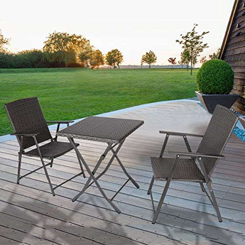 bigzzia Rattan Garden Furniture Set, 3PCS Folding Chair Table