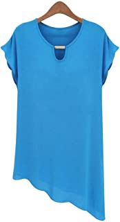 Jojckmen Women O Neck Metal Collar Oblique Hem Top Short Sleeve Chiffon Solid Blouse
