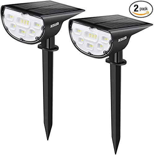 JESLED Solar Landscape Spot Lights Outdoor Lighting 14 LED Solar Powered Spotlights Dusk to Dawn Bright White IP67 Waterproof Landscaping Yard Lights for Garden Pathway Walkway Porch Patio 2-Pack
