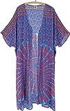 GURU SHOP Kimono ligero de verano, capa, vestido de playa con estampado de mandala, para mujer, multicolor, sintético, talla: 44, blusas y túnica, ropa alternativa Turquesa/Rosa/Óxido 46