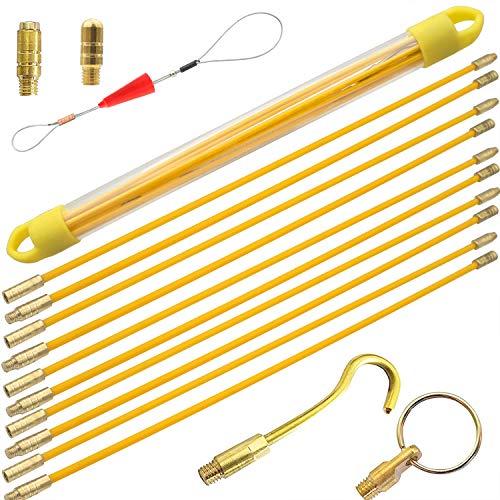 Akuoly Kabel-Einziehstangensatz Einziehband 5.8M Einziehdraht Einziehspirale mit Führungsfeder Einziehhilfen zur Kabelverlegung und 6-teilig,Gelb 10 x 58cm