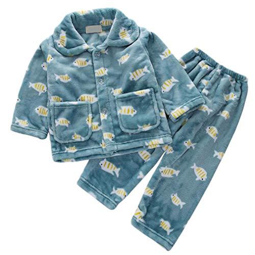 DEBAIJIA Bebé Ropa de Casa 0-12T Infantil Homewear Niños Pijama Niña Ropa de Dormir Niño Camisones Franela Calentar Invierno (Verde-6)