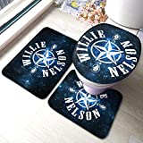 Biooker Bath Mats, Willie Nelson Durable Bathroom Rug Mats Set 3 Piece Anti-Skid Pads Bath Mat +...