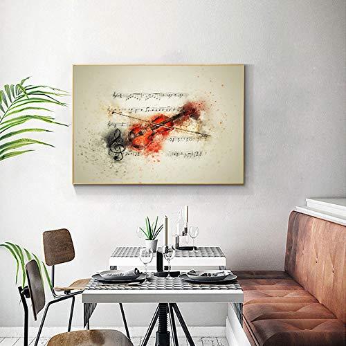 Lienzo moderno pintura pared arte acuarela música violín póster imagen abstracta impresión HD para decoración de sala de estar 50x70 CM sin marco