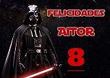 OBLEA de Darth Vader Star Wars Personalizada con Nombre y Edad para Pastel o Tarta, Especial para cumpleaños, Medida Rectangular de 28x20cm
