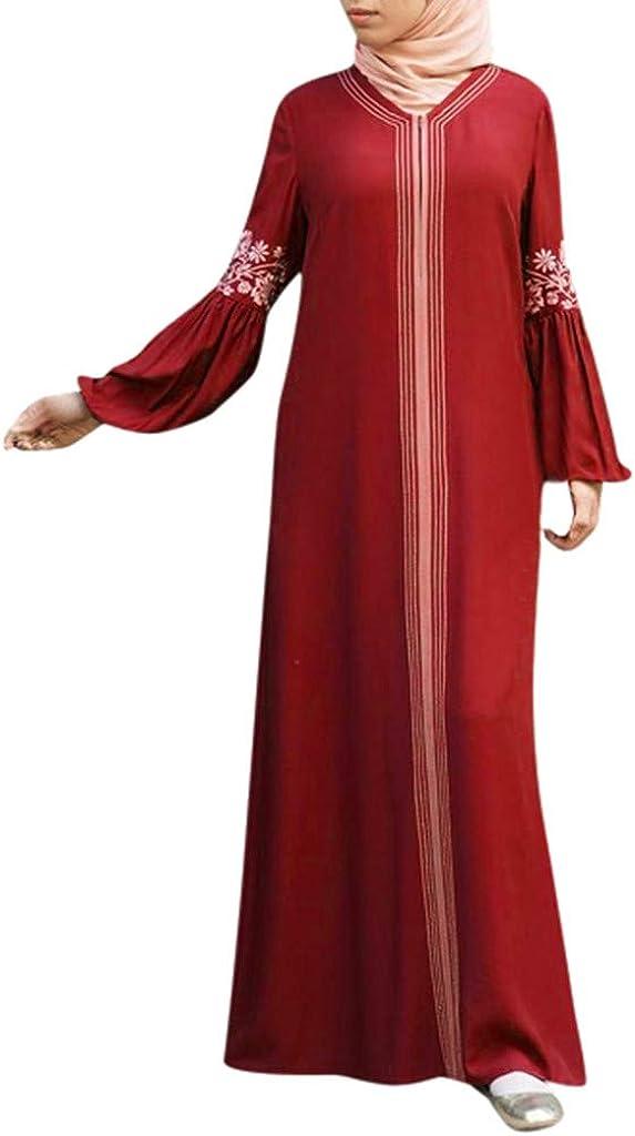 SERYU Women Muslim Dress Kaftan Arab Jilbab Abaya Islamic Lace Stitching Maxi Dress