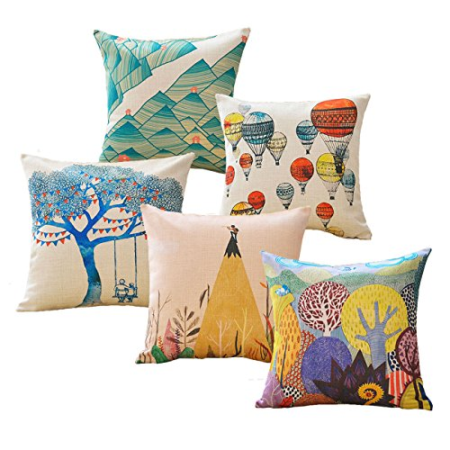 Sykting Farmhouse Pillow Covers 18x18 inch Patterned Throw Pillow Cases Set of 5 Decorative for Indoor Outdoor Colorful