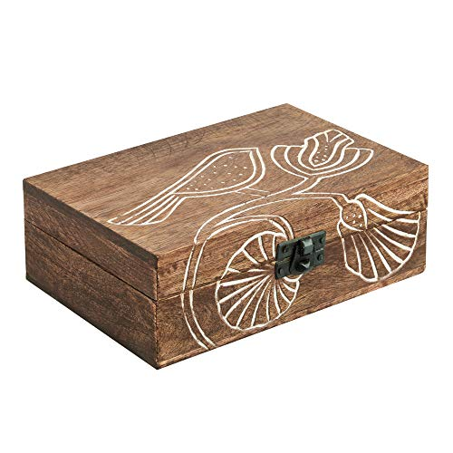 5x7 Wood Jewelry Box Organizer - Handmade Wooden Keepsake Celtic Trinket Box Carved with Bird Design - Treasure Memory Box for Rings Bracelets Necklaces Watch Earrings Accessories - Home Decor