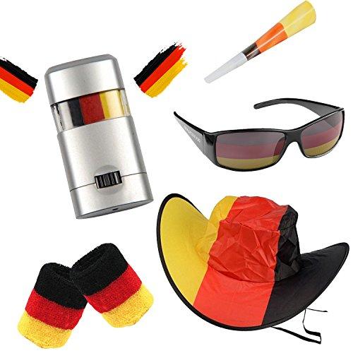 Taffstyle Juego de accesorios para aficionados de Alemania para el ftbol de la Copa del Mundo, artculo para aficionados, bandera, pulsera, sombrero, maquillaje, gafas