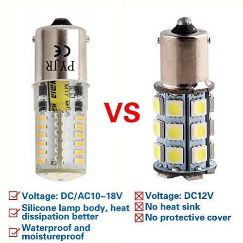 Ba15s 1156 1141 P21w 1003 7506 12V Led Bulbs, Pyjr Single Contact Bayonet Base, 5W Warm White 3000K 500Lm, Water-Resistant Led Bulb, for Rv, Trailer, Campe, Boat, Landscape Bulbs. (Pack of 2)