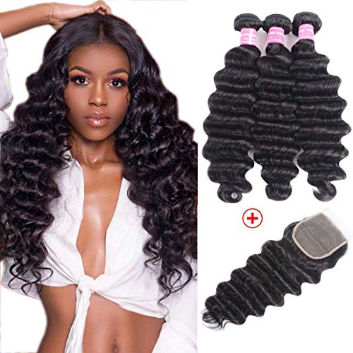 Beauty Forever Hair 8A Grade Malaysian Loose Deep Wave 3 Bundles with Lace Closure 4X4 inch Free Part Unprocessed Virgin Human Hair Deep Curly Bundles Natural Color (12 14 16+10, Bundle with closure)