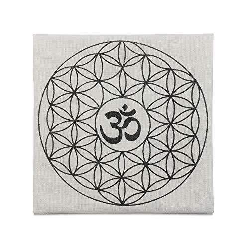 CrystalTears Gedruckte Blume des Lebens mit OM Symbol Heilige Geometrie Kristall Gitter Altar Tuch Heilung Spirituelle Reiki Metaphysisch