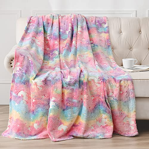 Jekeno Glow in The Dark Blanket for Kids Unicorn Blanket Premium Super Soft Fluffy Throw Blanket Gift for Boys Girls Birthday Christmas Pink 50' x60'