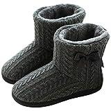 GURGER Zapatillas de Estar por Casa Mujer Botas Pantuflas Invierno Calentitas Botines Gris Talla 37 38