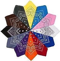 HBselect bandana huvudduk halsduk 100 % bomull med original Paisley och Cashew mönster för kvinnor 54 x 54 cm