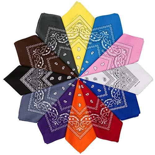 HBselect 12 Piezas Unisex Bandana Cabeza Hombre Algodon Pañuelos Cuello Mujer Multicolor Pañuelos Hombre Cuello Pañuelo Deportivo