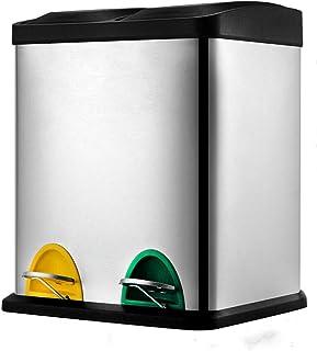 LuAn Stylish Dual Step Trash Can Rectangular Rubbish Bin Home Kitchen Garbage Bin - 30L