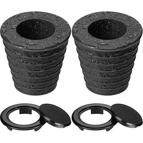 Pelopy Umbrella Cone Wedge and Table Umbrella Hole Ring and Cap Set for Outdoor Patio Umbrella, Umbrella Pole Diameter 1.5 Inch or Smaller (4, Black Black)