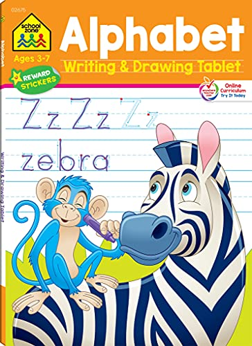 School Zone - Alphabet Writing & Drawing Tablet Workbook - 96 Pages, Ages 3 to 7, Preschool, Kindergarten, 1st Grade, Letters, ABCs, Tracing, and More (Easy-Tear Top Bound Pad) (Writing Tablet)